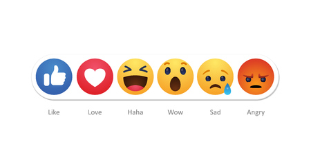 Baku. Azerbaijan - April 23. 2019 Facebook new like reactions buttons 報道画像
