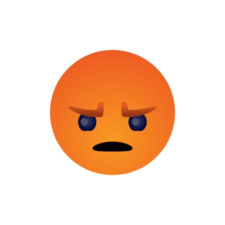 Anger face emotion simple flat style vector illustration.