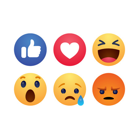 Set of reactions emotion buttons simple flat style vector illustration.