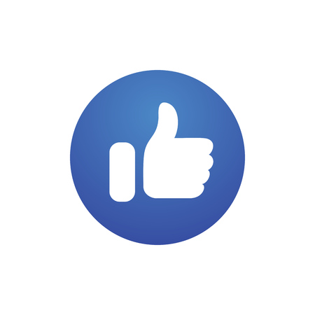 Thumb up good emotion simple flat style vector illustration. Ilustração