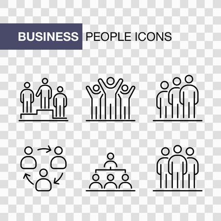 Business people icons set simple line flat illustration. Imagens - 129521986