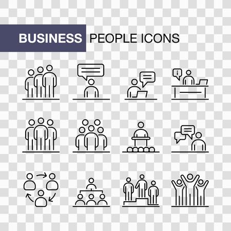 Business people icons set simple line flat illustration. Imagens - 129521989