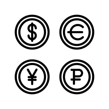Dollar euro yen yuan ruble symbol currency money simple flat style icon. Imagens - 129818654