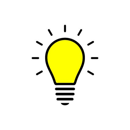 Idea light bulb icon simple flat style illustration.  イラスト・ベクター素材
