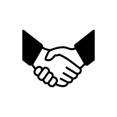 Handshake icon simple vector illustration. Deal or partner agreement symbol. Handshake sign. Hands meeting image. Çizim