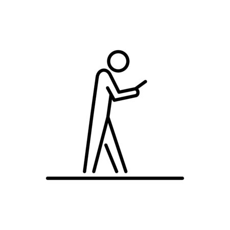 Man using smartphone and walk business people icon simple line flat illustration.