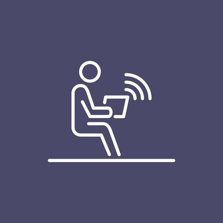 Office employer working on laptop wireless connection business people icon simple line flat illustration. Ilustração