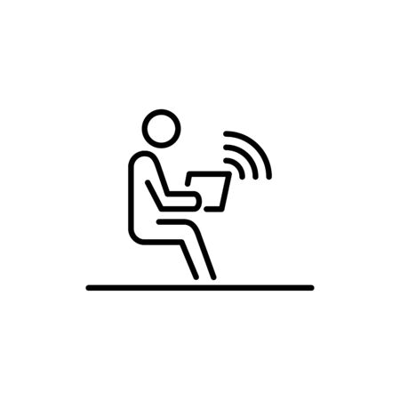 Office employer working on laptop wireless connection business people icon simple line flat illustration. Illustration