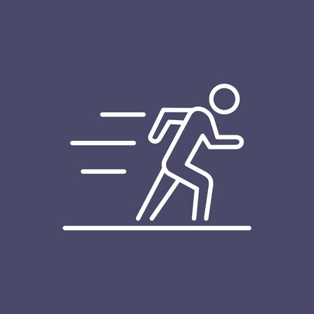 Running man silhouette business people icon simple line flat illustration.