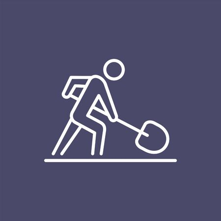 Road worker with spade sign business people icon simple line flat illustration.