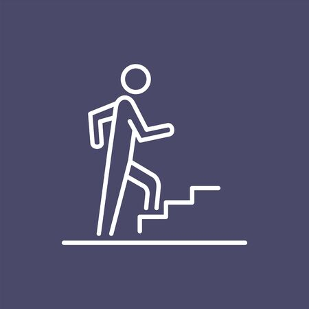 Man climbing on the stairs steps icon business people icon simple line flat illustration.