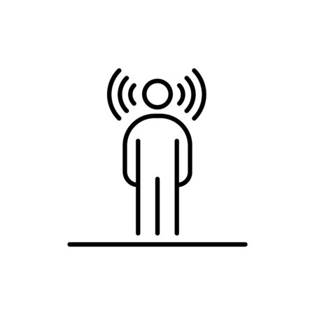 Human wireless radio waves around head business people icon simple line flat illustration.