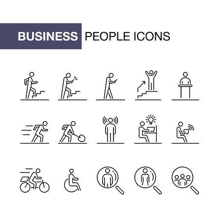 Business people icon set simple line flat illustration. Ilustração