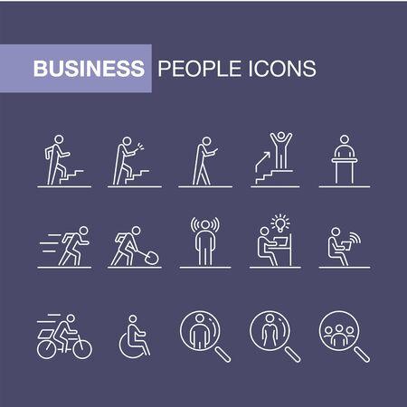 Geschäftsleute Icon Set einfache Linie flache Abbildung.