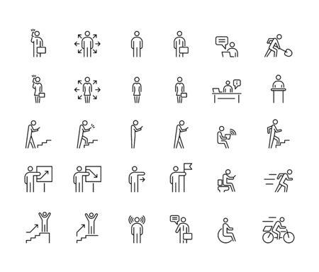 Business people 30 icons set simple line flat illustration.