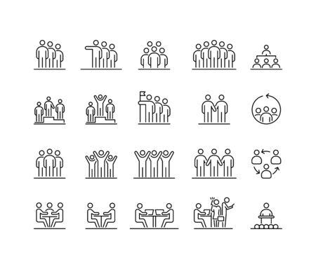 Group of people 20 icons set simple line flat illustration. Ilustração