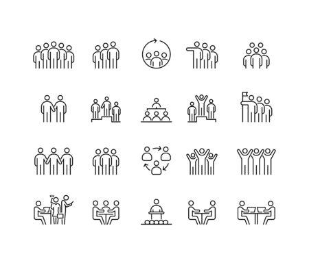 Group of people 20 icons set simple line flat illustration. Ilustracja