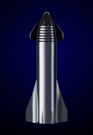 October 8, 2019: Illustration of the Starship rocket, concept by SpaceX. Ilustração
