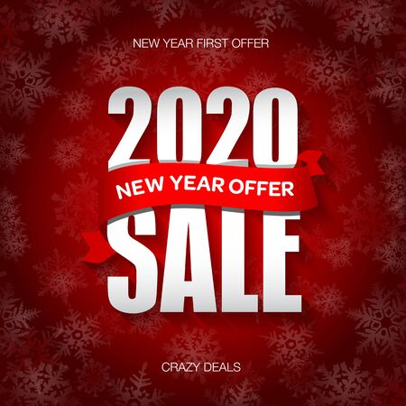 New Year 2020 sale badge, label, promo banner template. New Year offer text on ribbon. Ilustracja