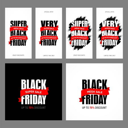 Black Friday sale inscription best design template set. Black Friday advertising banner vector illustration