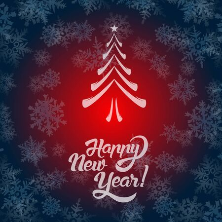 New Year greeting card text. Happy New Year lettering, vector illustration Иллюстрация