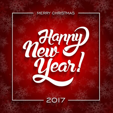 New Year greeting card text. Happy New Year lettering, vector illustration.