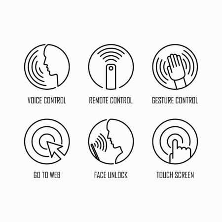 Wireless device control icon set simple flat style outline illustration.