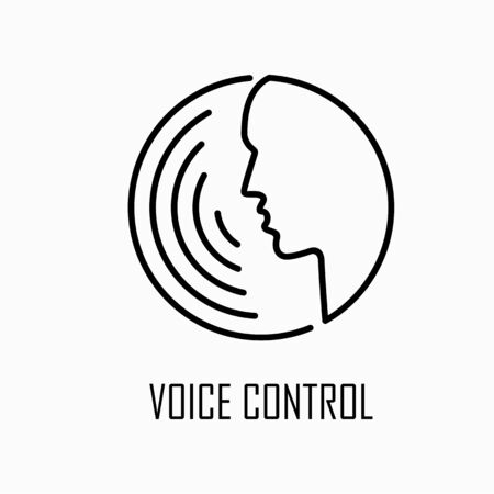 Voice control icon simple flat outline style illustration.