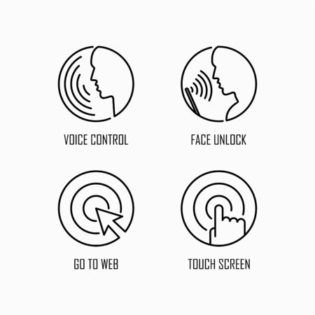 Device control and unlock icon set simple flat style outline illustration.