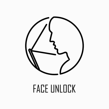 Face unlock icon simple flat style outline illustration. Ilustrace