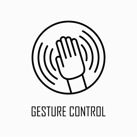 Gesture control icon simple outline flat illustration.