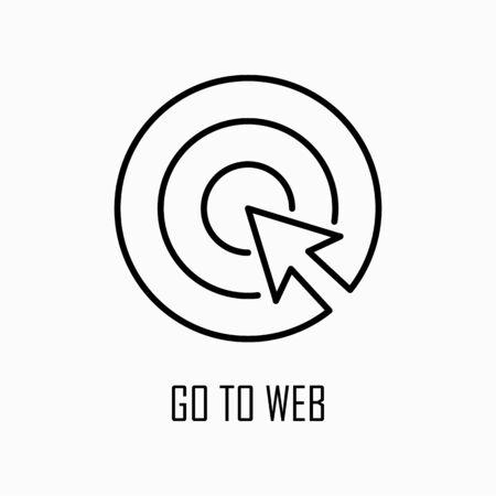 Go to web click internet icon simple outline flat illustration. Ilustração