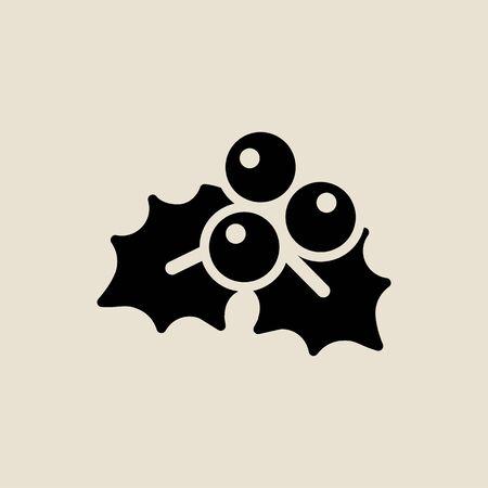Leaf berry icon simple flat style Christmas symbol. Ilustração