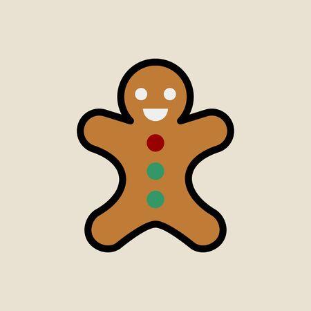 Gingerbread man icon simple flat style Christmas symbol. Ilustração