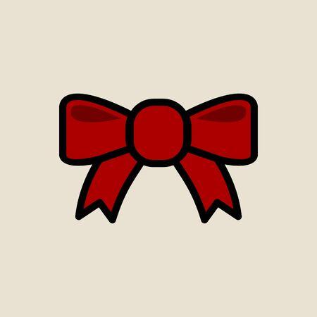 Gift ribbon icon simple flat style Christmas symbol. Illustration
