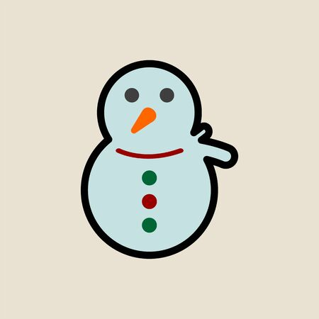 Snowman icon simple flat style Christmas symbol.