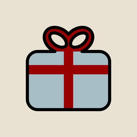 Gift box icon simple flat style Christmas symbol.