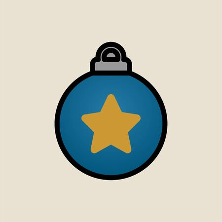 Christmas tree toy star icon simple flat style Christmas symbol.