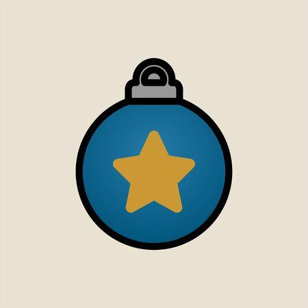 Christmas tree toy star icon simple flat style Christmas symbol.