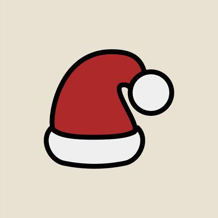 Santa cap icon simple flat style Christmas symbol.