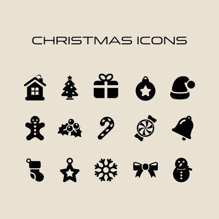 Set di icone natalizie in stile piatto semplice Simboli di Natale.