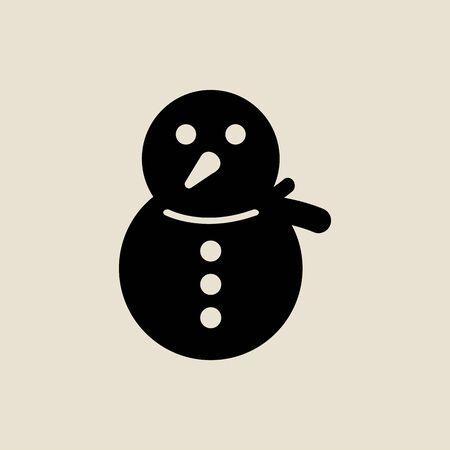 Snowman icon simple flat style Christmas symbol.