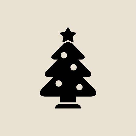 Christmas tree icon simple flat style Christmas symbol.