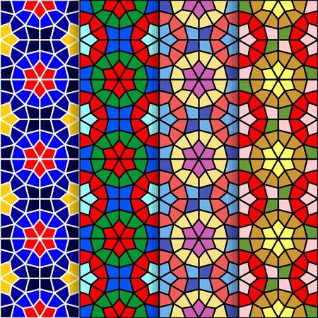 Vector seamless ornamental eastern pattern set illustration. Illustration