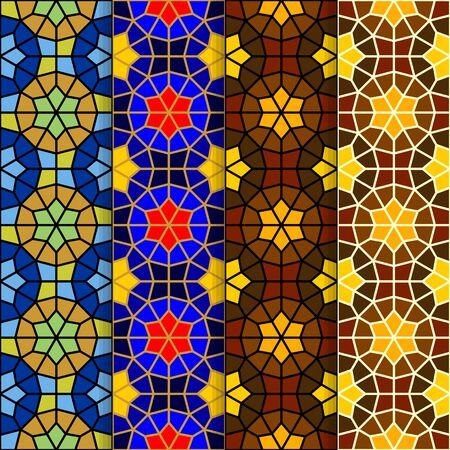 Vector seamless ornamental eastern pattern set illustration. Ilustração