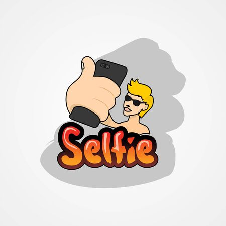 Young man taking selfie with smartphone simple flat style vector illustration.