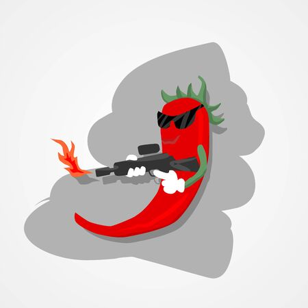 Hot spicy red pepper with fire gun simple flat style vector illustration.