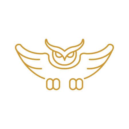 Owl icon outline logo flat simple illustration.