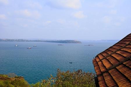 aguada: Panoramic blue seas Stock Photo