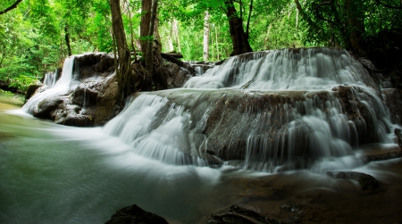 Waterfall in deep rain forest jungle   Huay Mae Kamin Waterfall in Kanchanaburi Province, Thailand